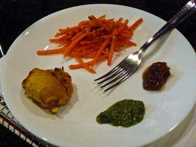 batata vada with carrot slaw