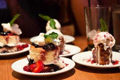 bread pudding and berry short cake