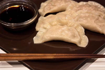 pork and napa dumplings with dipping sauce