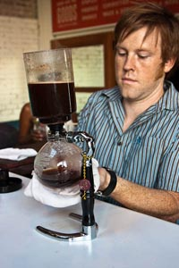 coffee contraption - bottom container cools, coffee drips
