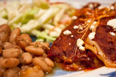 Red Chile Enchiladas and Pinto Beans