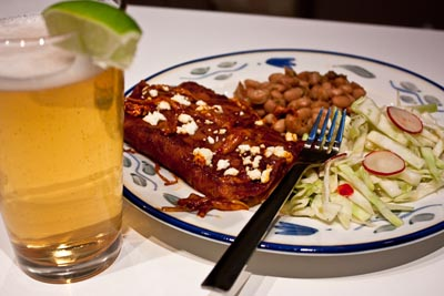 Red Chile Enchiladas, Pinto Beans, and Beer