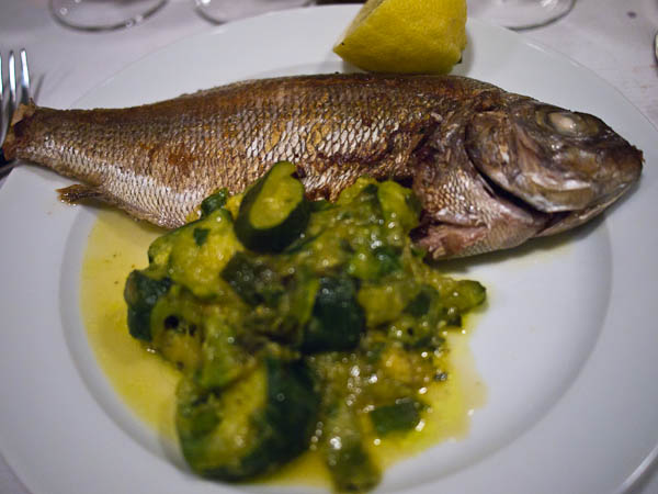 sea bream and courgettes