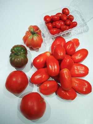 tomatoes: paste, slicing, cherry, and heirloom