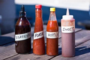 franklin sauces: espresso, pork, hot, and sweet