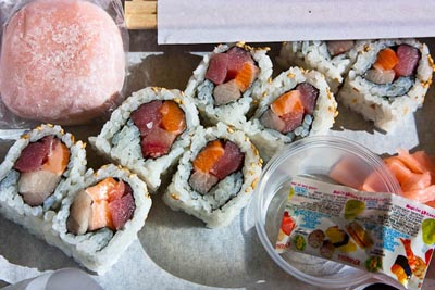 blueberry moshi and trio roll