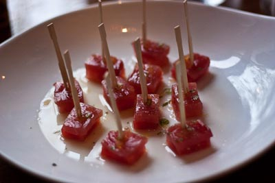 tuna and compressed watermelon skewers